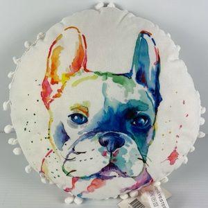 NWT FRENCHIE Round Tassel Cushion Colourful